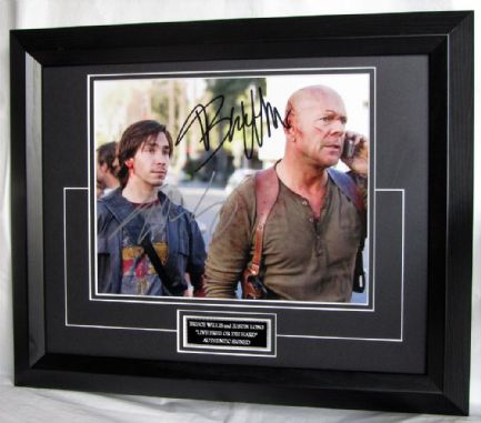 BWJLLFDHEBF Bruce Willis & Justin Long dual signed